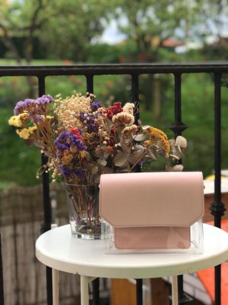 Bolso transparente rosa